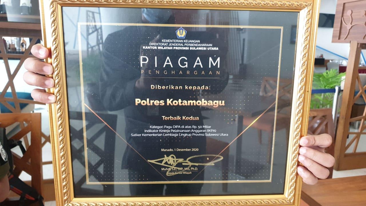 Piagam penghargaan Polres Kotamobagu