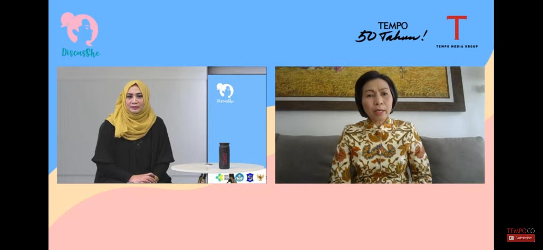 Bupati Yasti saat diwawancarai redaktur Ekonomi Bisnis majalah Tempo terkait perekonomian di Kabupaten Bolmong saat masa pandemi.
