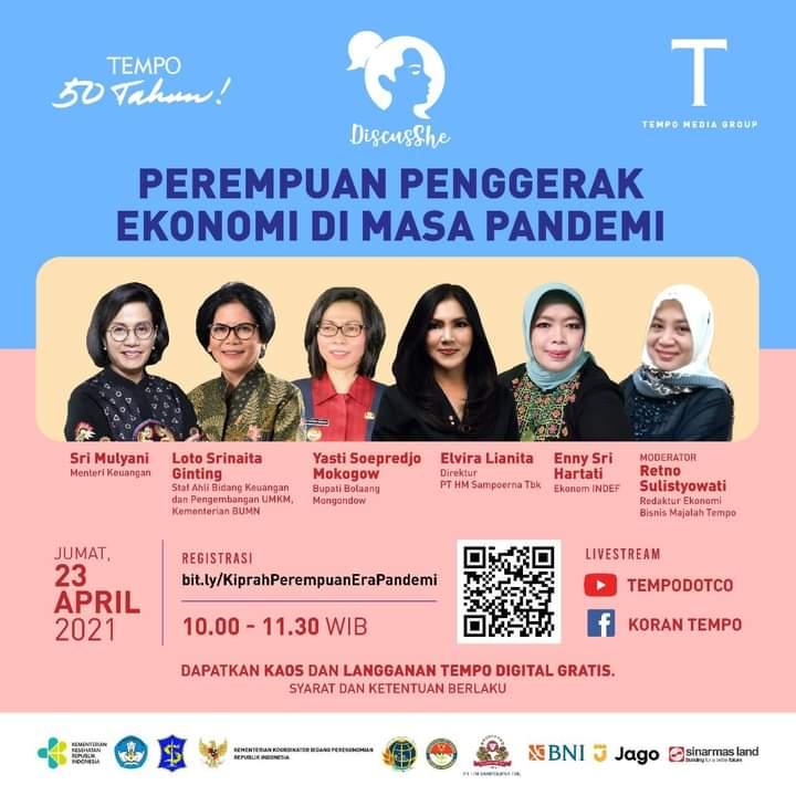 Tempo Media Grup mengundang perempuan-perempuan hebat menjadi narasumber dalam acara Perempuan Penggerak Ekonomi di Masa Pandemi, yang disiarkan livestream di kana Youtube Tempodotco dan Facebook Koran Tempo, Jumat (23/4).