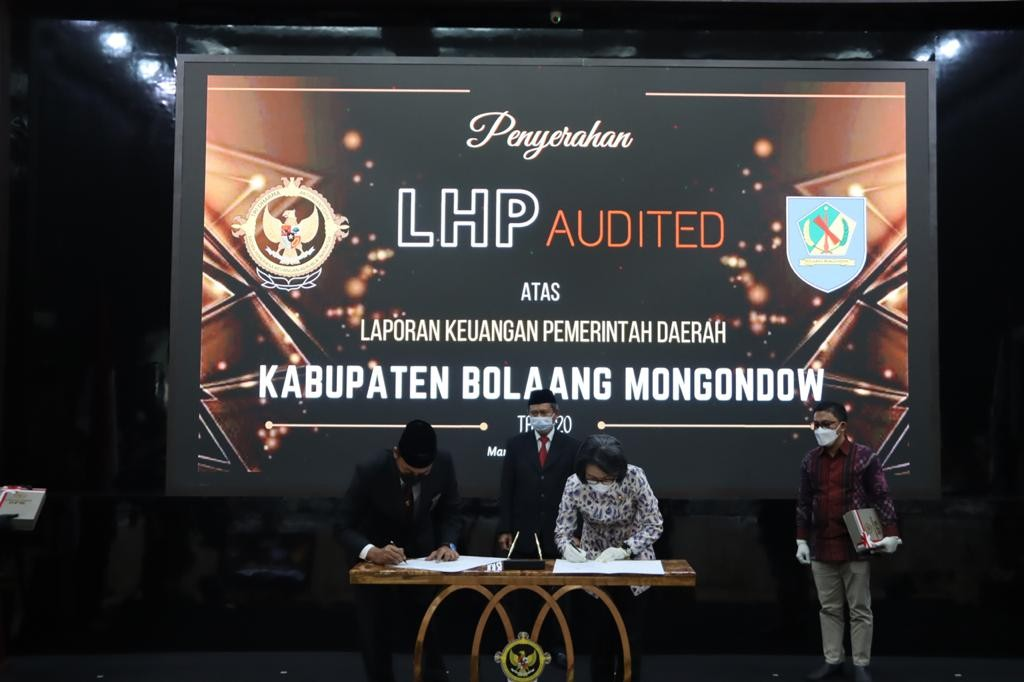 Kabupaten Bolmong menerima Opini WTP dari BPK RI berdasarkan hasil audit LKPD TA 2020